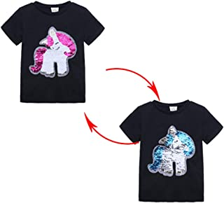 Toddler Kids Girls Magic Flip Sequins T-Shirt Pullover Tee Tops Short Sleeve Summer Clothes Outfit for 1-7 Years