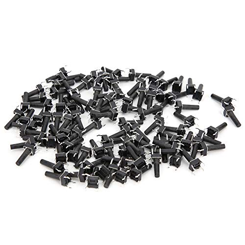 100PCs Momentary Touch Switch, Micro-Button Engineering Plastics Reset Switch DIP Industrial Control Button DC12V 50mA 6 x 6 x 15mm