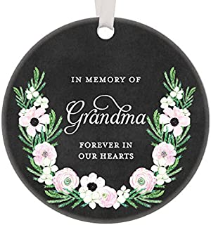 Iliogine Grandmother Memorial Gifts 2017, in Memory of Grandma Christmas Ornament Memories Keepsake Guardian Angel Forever in Our Heart Present Flowers Flat Circle Porcelain Funny