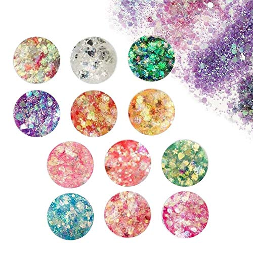 Chunky Glitter, Gel Glitter Corpo, Glitter Cosmetic per Face Nails Occhi Labbra Capelli Corpo,Trucco Glitter For Music Festival Masquerade Party Music Halloween Christmas Ball, 12 Colori