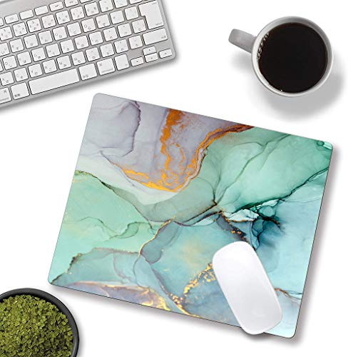 """Mouse Pad, Modern Teal Marble Mouse Pad,Turquoise Marbling Mouse Pad, Gaming Mouse Mat, Square Waterproof Mouse Pad Non-Slip Rubber Base MousePads for Office Home Laptop Travel, 9.5""""x7.9""""x0.12"""" Inch Photo #3"""