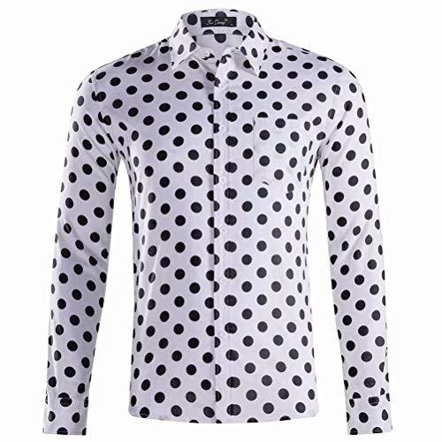 XI PENG Mens Long Sleeve Polka Dots Shirts Slim Fit Button Down Dress Shirt(White Black XX-Large)