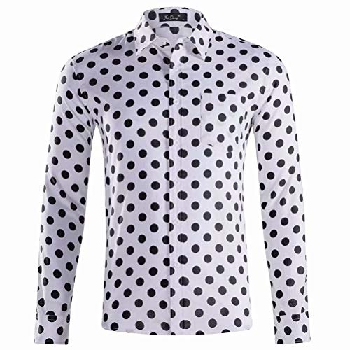 XI PENG Mens Long Sleeve Polka Dots Shirts Slim Fit Button Down Dress Shirt(White Black XX-Large)