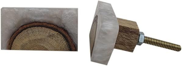 Indian-Shelf Handmade Resin Rectangle Door Knobs Cupboard Pulls Drawer Handles(Grey, 1.9 Inches)-Pack of 2