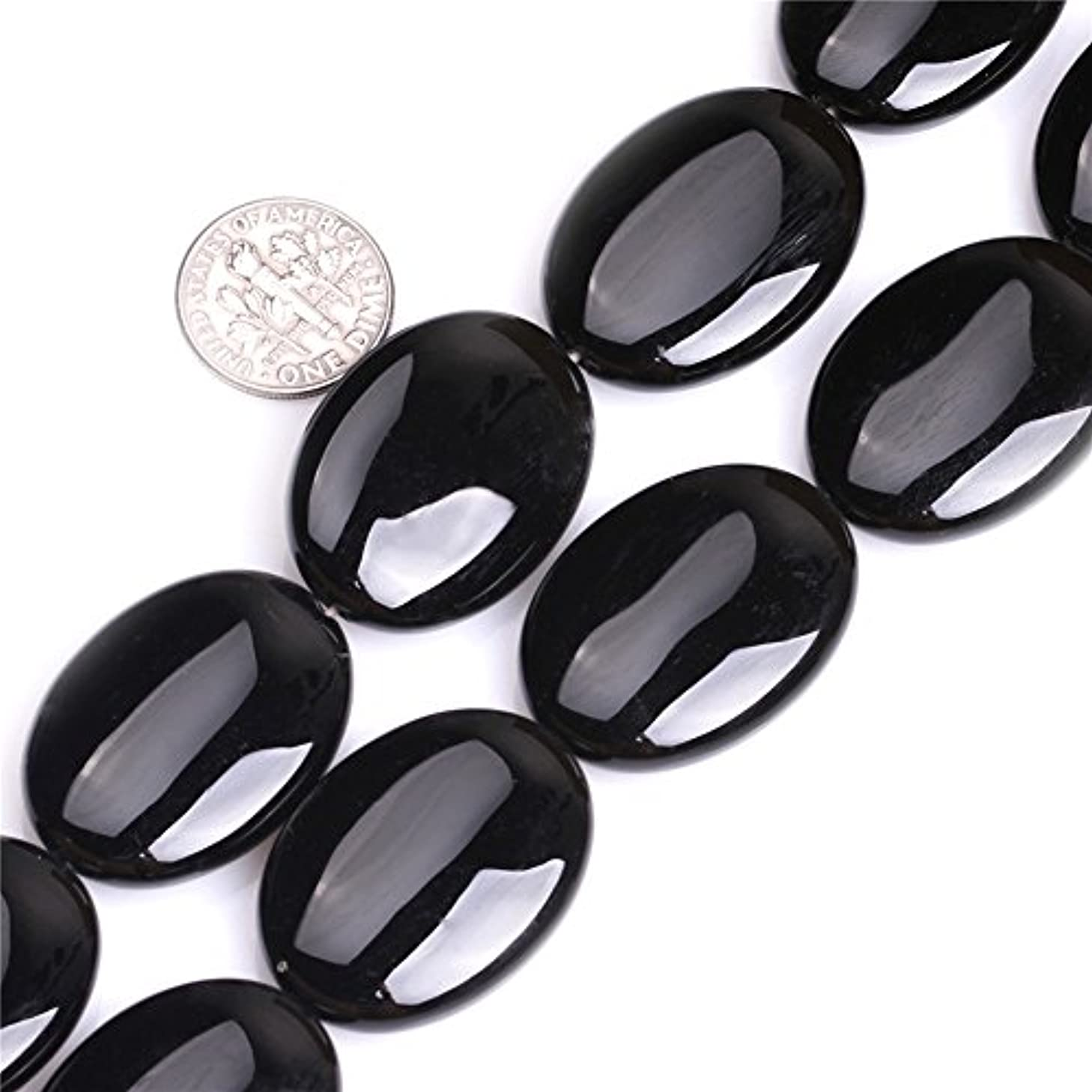 Black Agate Beads for Jewelry Making Natural Semi Precious Gemstone 22x30mm Oval Strand 15