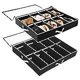SOLEDI Organizador de zapatos debajo de la cama 2 juegos de almacenamiento debajo de la cama con mango duradero & Divisores ajustables de ventana transparente Se adapta a 24 pares en total