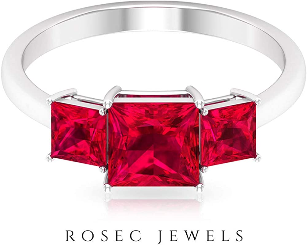 2.4 Ct Certified Ruby Glass Filled Wedding Ring, Statement Three Stone Women Ring, Princess Cut Gemstone Bridal Ring, Unique Anniversary Promise Ring, 14K Gold