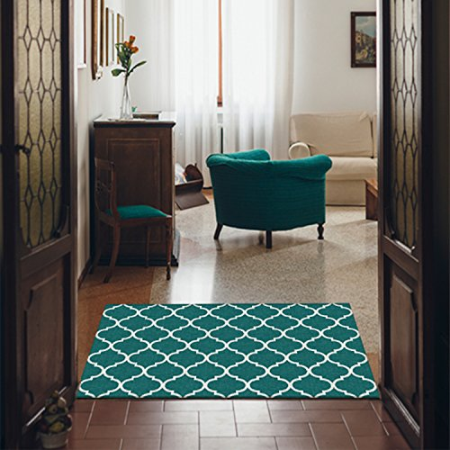 "RUGGABLE Moroccan Trellis Teal Washable Indoor/Outdoor Stain Resistant 3'x5' (36""x60"") Accent Rug 2pc Set (Cover and Pad)"
