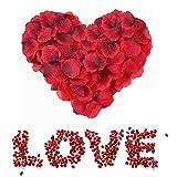 Sweetone Pétalos de Rosa, 3000 Piezas de petalos Artificiales de Rosa de Seda Artificial Rojos para el día de San Valentín, Pétalos de Rosa en Seda para Bodas Confeti Petalos Artificiales
