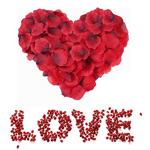 3000 Pezzi Petali di Rosa Rossa, Petali di Fiori Finti Rossa, Petali di Rose Rosse Regali Decorazioni per Notte Romantica, Matrimonio, San Valentine e Fidanzamento, Proposta di Matrimonio