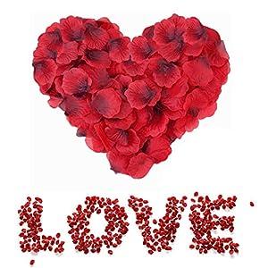 Sweetone 3000 Piezas de pétalos de Rosa de Seda Artificial Rojos para el día de San Valentín, proponer, Flores de Boda…