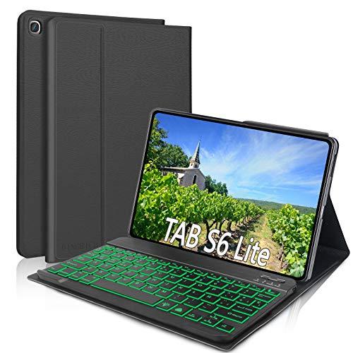 """DINGRICH Funda con Teclado Español Ñ para Samsung Galaxy Tab S6 Lite 10.4"""", 7 Color Retroiluminación Bluetooth Teclado Inalámbrico Extraíble para Samsung Tab S6 Lite SM-P610/P615 2020 Tablet Negro"""