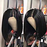 IVCoco 13X6 Lace Front Wigs Human Hair Wigs Pre Plucked Lace Frontal Wigs with Baby Hair 8 Inch Short Bob Wigs Brazilian Virgin Hair Straight Bob Wigs For Black Woman