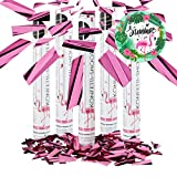 Relaxdays 5er Set Party Popper Pink, Party Shooter Metallic, 40 cm Konfetti Kanone für...