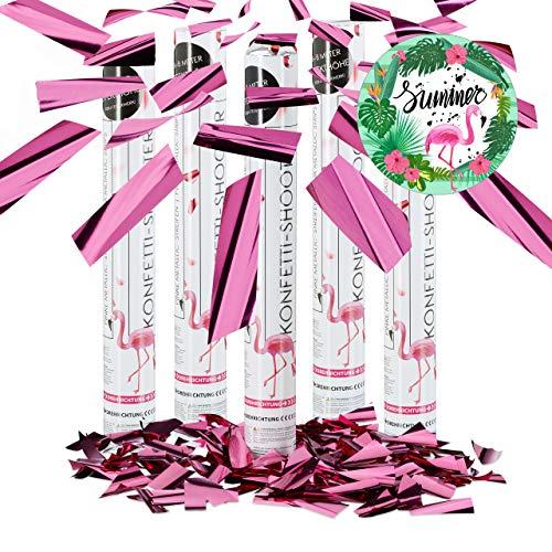 Relaxdays 5er Set Party Popper Pink, Party Shooter Metallic, 40 cm Konfetti Kanone für Junggesellinnenabschied, JGA, Geburt, rosa