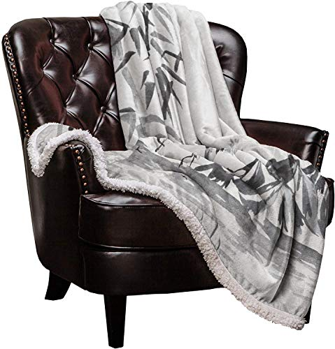 Super Soft Sherpa Throw Blanket, Mount Fuji Janpanese Sakura Sunset White Crane Bed Blanket, Extra Warm Flannel & Sherpa Microfiber Cozy Fuzzy Lightweight Blanket for Couch Sofa, 40 x 50 inch