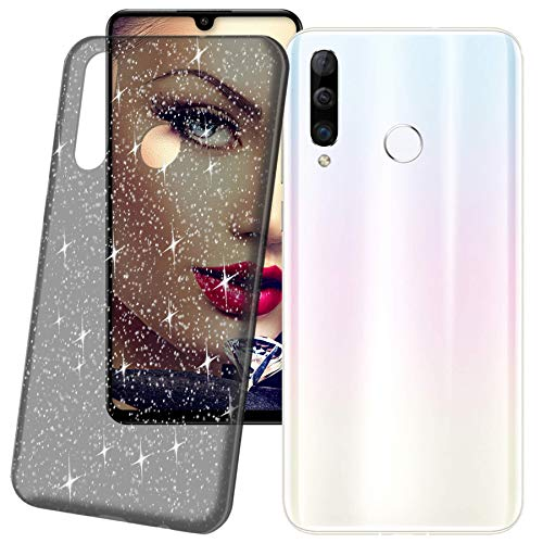 Preisvergleich Produktbild mtb more energy® Schutz-Hülle Crystal für Huawei P30 Lite / P30 Lite New Edition (6.15'') - Transparent-Schwarz - mit Glitzer-Effekt - flexibel - Schutzhülle Case Cover Tasche