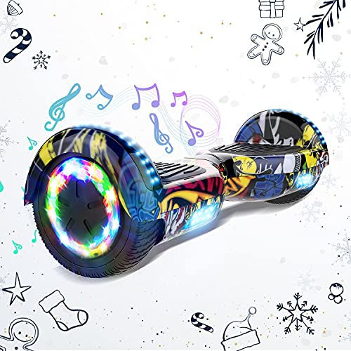 HITWAY Hoverboard Autobilanciato Scooter Elettrico da 6,5 Pollici, Scooter Elettrico Overboard con Bluetooth e Lampeggiante LED, Regalo di Natale per Bambini
