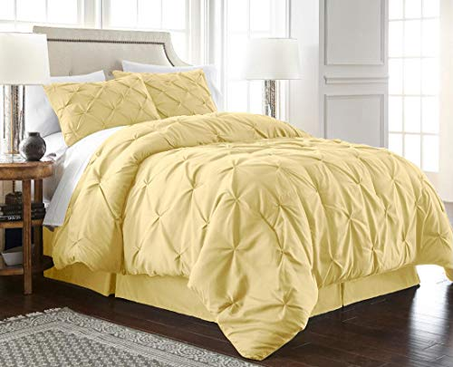 Chezmoi Collection Berlin 3-Piece Pintuck Pinch Pleat Bedding Comforter Set (Queen, Yellow)