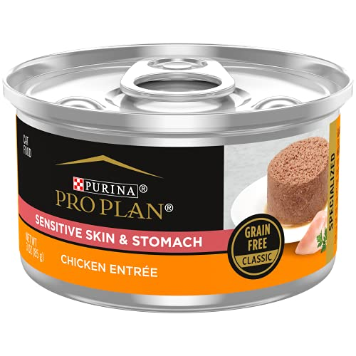 Purina Pro Plan Grain Free, Pate, Wet Cat Food, Specialized Sensitive Skin & Stomach Chicken Entree - (24) 3 oz. Cans