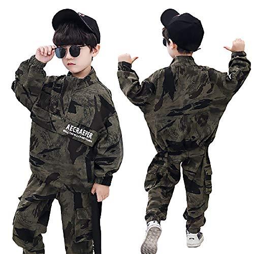 DTZW Conjunto de ropa de camuflaje para niños con mezcla de algodón y pantalones para niños pequeños, adecuado para primavera y otoño (tamaño: 130)