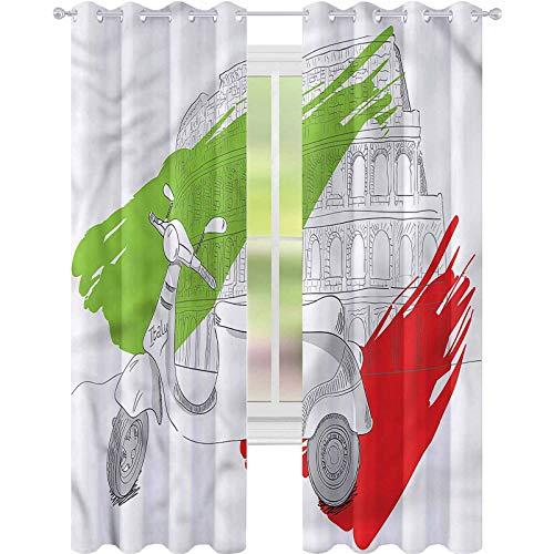 YUAZHOQI - Cortinas para sala de estar, diseño de bandera italiana, 2 paneles, reducción de ruido, 132 x 160 cm