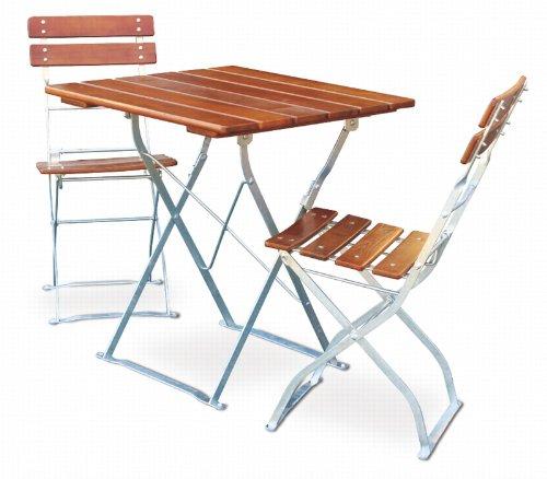 EuroLiving Balkonset 1x Tisch 70x70 cm & 2X Stuhl Edition-Classic Ocker/verzinkt