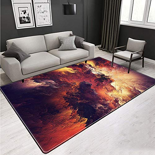 Carpet Rug,Large Area Rugs For Living Room Bedroom Indoor Non-Slip Soft Cozy Carpet,Natural Scenery Red Clouds,3D Printing Anti-Slip Classroom Rectangle Door Mats Home Decor,150×200Cm 4.92×6.56Ft