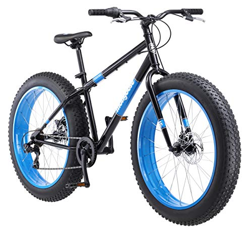 Mongoose 2019 Dolomite Men's Fat Tire Bike, 26-inch Wheels, 7 speeds, Black/Blue