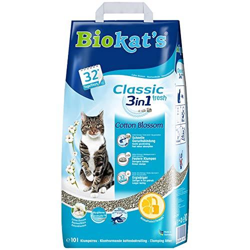 Biokat's Classic fresh 3-in-1 met Blossom-geur van katoen – klomp kattenstrooi met 3 verschillende korrelgroottes – 1 zak (1 x 10 L)
