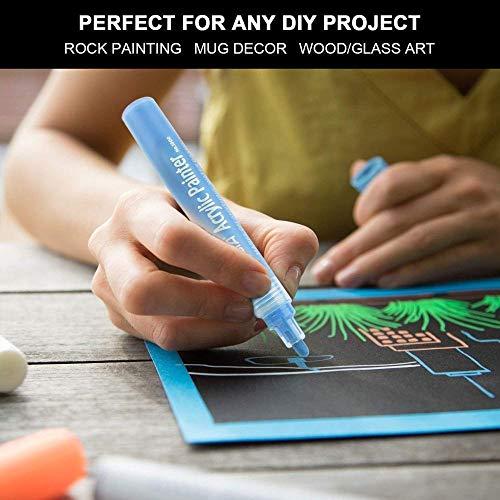 ACRYLIC PAINT MARKERS SET OF 12 Paint Pens markers for Glass permanent - Plastic - Rock Painting - Porcelain - Ceramic - Fabric - Enamel pen - Canvas - School craft - Paint supplies for artists Photo #7
