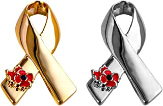 Remember Memorial Day Gifts, 2PCS SET Ribbon Poppy Brooches Pins For Hero Soldier Remembrance Day Gifts Lest We Forget Ena...