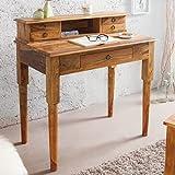 Invicta Interior Exklusiver Sekretär Hemingway M Sheesham Stone Finish Massivholz 90 cm Schreibtisch Tisch Holztisch