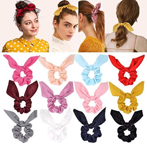 12 piezas de gomas para el cabello de gasa elástica para el cabello rizado Bobbles Ponytail Holder diadema cintas para el cabello para mujeres niñas