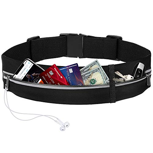 memumi Cintura da Corsa Marsupio Sportivo,Regolabile e Impermeabile con Doppia Tasca, Compatibile con iPhone 12 mini  12 12 Pro 11 11 pro 11pro max Smartphone.Per Palestra,Esercizi,Bici. Nero