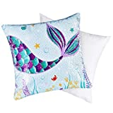 WERNNSAI Mermaid Pillow with Insert - 16 x 16 Inch Blue Sequins Throw Pillows Square Decorative Cushion for Sofa Chair Office Bed Car Home Decoration Birthday Xmas Gift