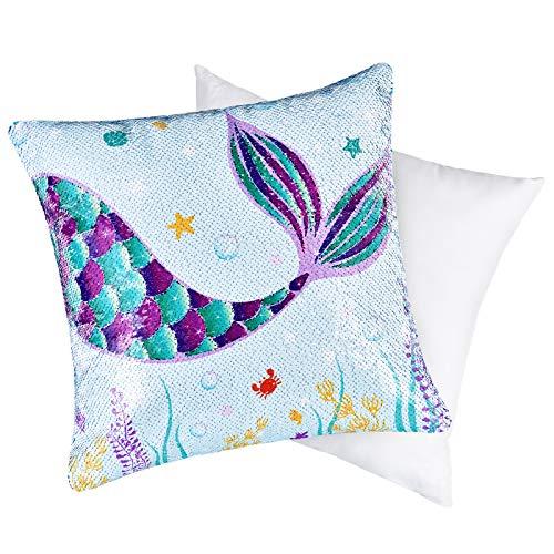 WERNNSAI Cojín de Sirena con Almohada - Cuadrado de Lentejuelas Azules Almohada Cojín Decorativo Fundas para Cojines Almohadas para Sofá Silla Oficina Cama Coche Cumpleaños