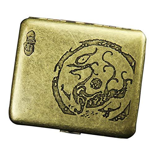 CaLeQi Porta Sigarette Contiene 20,Golden (Fiore di peonia) (Drago)