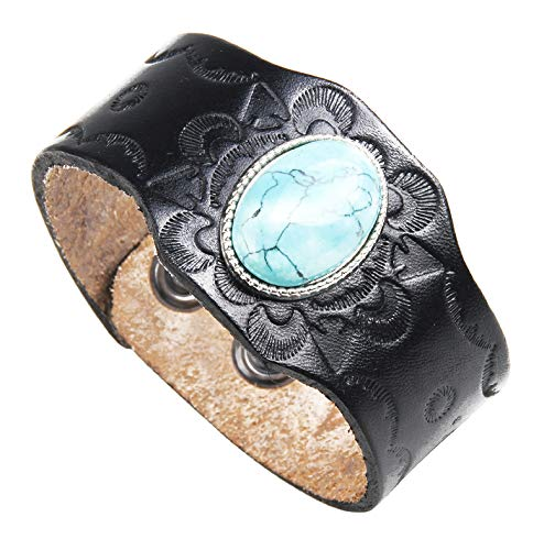 crintiff - Leather Cuff Wristband Bracelet for Men and Women with Rounded Turquoise - Black