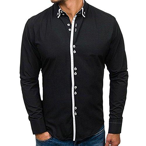 Herren Slim Revers Einfarbig Langarm Shirt Oberteil YunYoud freizeithemd business herrenmode männerhemden