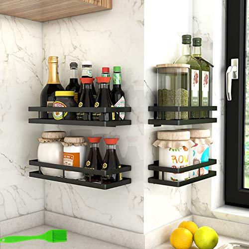 Especiero cocina con 4 ganchos,Especiero cocina pared,Almacenamiento de cocina y despensa,Estanterías para especias de Acero Inoxidable,Organizador cocina+1 Pincel cocina (40cm)