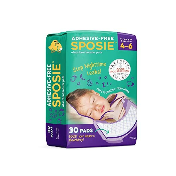 Sposie Booster Pads Diaper Doublers, 30 Pads – for Overnight Diaper Leaks, No Adhesive for Easy repositioning, Fits Diaper Sizes 4-6