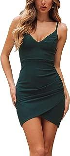 Women's V-Neck Sheath Casual Party Bodycon Cami Spaghetti Strap Wrap Dress