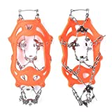 SALUTUYA Cubierta Antideslizante para Zapatos Durable Ligweight Ice Snow Grips Firmes Ice(19 Teeth Orange, XL)