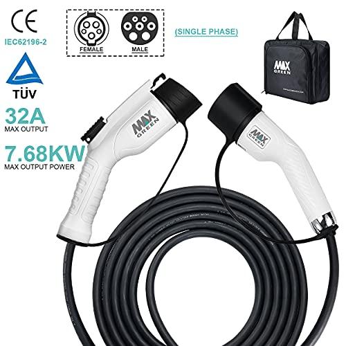 MAX GREEN EV/Cable de Carga - Tipo 2- Tipo 1 - 32 A / 16 A - 5 Metros