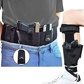 CREATRILL Bundle of Belly Band + Ankle Holster + Mag Pouch Neoprene Gun Holster Concealed Carry with Magazine Holster Compatible with Glock Ruger LCP M&P Shield Sig Sauer Ruger Kahr 1911