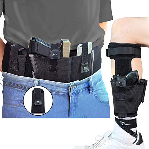 CREATRILL Bundle of Belly Band + Ankle Holster + Mag Pouch, Neoprene Gun Holster Concealed Carry with Magazine Holster, Fits Glock 19, 17, 42, 43, Ruger LCP, M&P Shield, Sig Sauer, Ruger, Kahr, 1911
