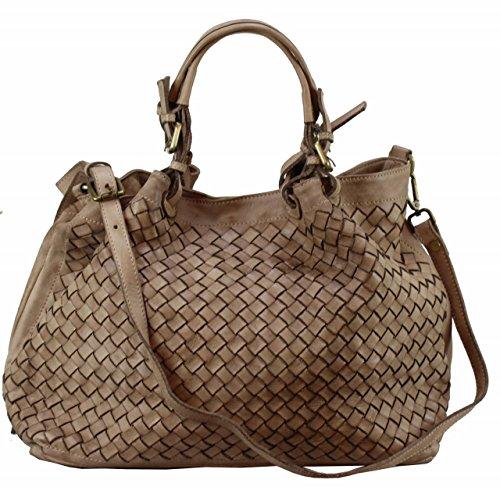 BZNA Bag Rene beige Italy Designer Damen Handtasche Ledertasche Schultertasche Tasche Schafsleder Shopper Neu