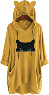 Pan Hui Women Cat Printed Long-Sleeve Crewneck Hoodie Sweatshirt Tunic Tops Plus Size Drawstring Pullover with Pockets