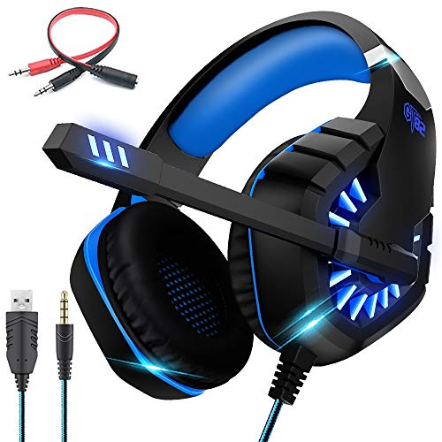 OVLENG ps4 Headset PC Gaming Headset Auch für Nintendo Switch, xbox one & Laptop,USB LED-Licht,3.5mm Noise Cancelling Gaming Kopfhörer mit Mikrofon,Surround Sound System